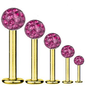 Labret Bar Tragus Piercing Gold Plated Titanium 1,6 mm, Multi Crystal Ball Pink | 5-16 mm