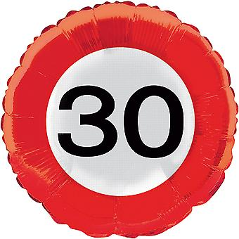 Foil balloon traffic sign number 30 birthday helium balloon party