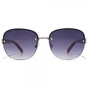 Carvela Diamante Temple Rimless Sunglasses In Shiny Light Gunmetal