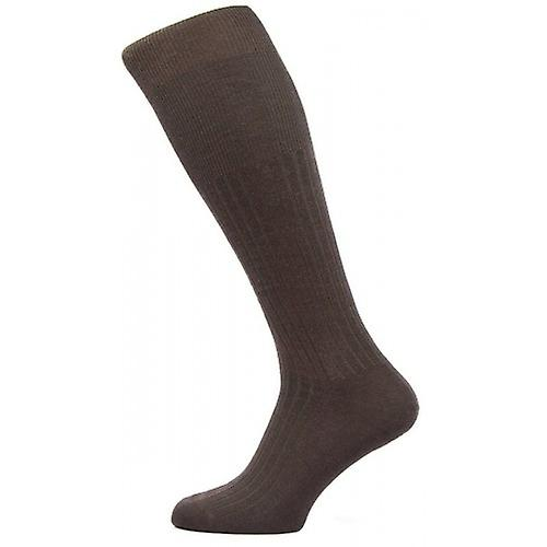 Pantherella Hemingway Rib Over the Calf Escorial Wool Socks - Dark Chocolate