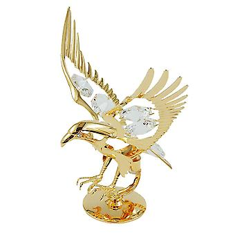Dekoadler Florencia gold-plated sculpture with stand Eagle, with glass stones