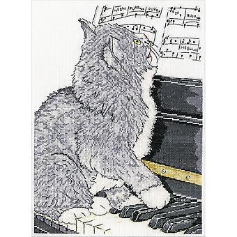 Piano kat geteld Cross Stitch Kit-10