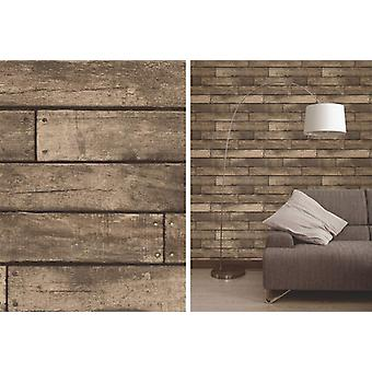 Fine Decor Brown Wooden Plank Realistic Wood Design 3D Effect Wallpaper