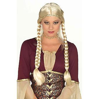 Medieval Braided Maiden Renaissance Blonde Women Costume Wig