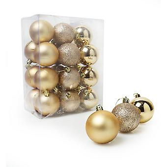 Christmas Shop Assorted Shatterproof 60mm Christmas Tree Bauble Set (24 Pack)
