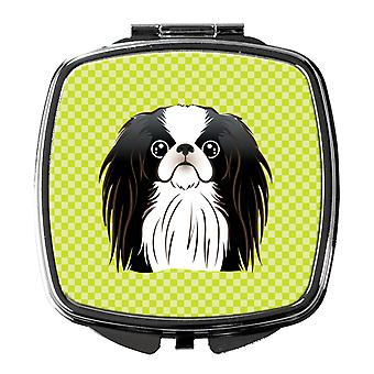 Checkerboard Lime Green Japanese Chin Compact Mirror