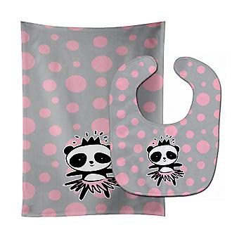 Carolines Treasures  BB7035STBU Panda Bear Ballerina Baby Bib & Burp Cloth