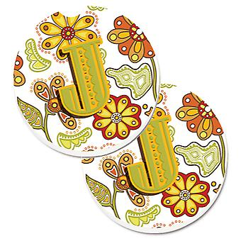 Letter J Floral Mustard and Green Set of 2 Cup Holder Car Coasters