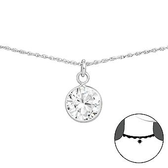 Round - 925 Sterling Silver Chokers - W34700x