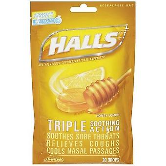 Halls Menthol Oral Anesthetic Drops Honey Lemon 2 Bag Pack