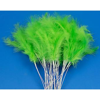 36 Lime Green Feather Spray Picks for Floristry & Craft Projects