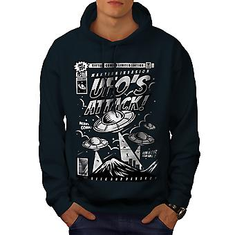 Mars Being Attack Men NavyHoodie | Wellcoda