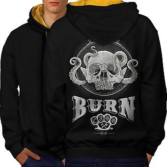 Burn Funk Skull Men Black (Gold Hood)Contrast Hoodie Back | Wellcoda