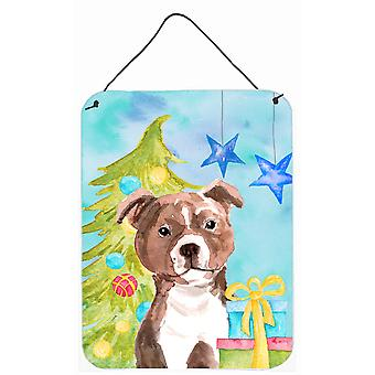 Red Staffie Bull Terrier Christmas Wall or Door Hanging Prints