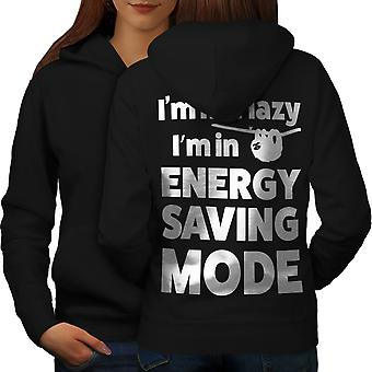 Energy Saving Mode Women BlackHoodie Back | Wellcoda