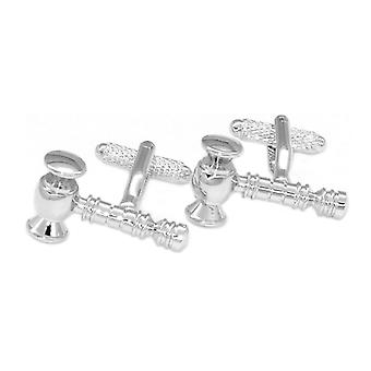 Silver-Tone Men's Cuff Links Judge's Gavel Mens Cufflinks