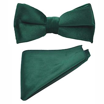 Luxury Racing Green Velvet Bow Tie & Pocket Square Set