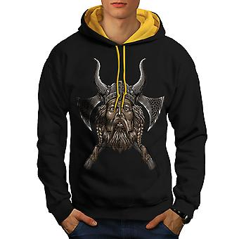 Northern Helmet Axe Men Black (Gold Hood)Contrast Hoodie | Wellcoda