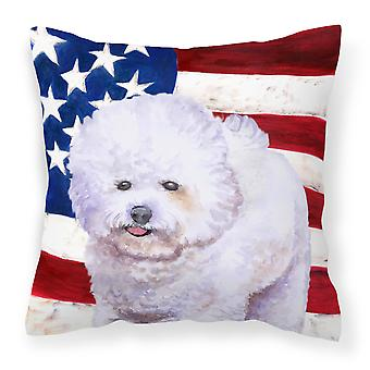 Bichon Frise Patriotic Fabric Decorative Pillow