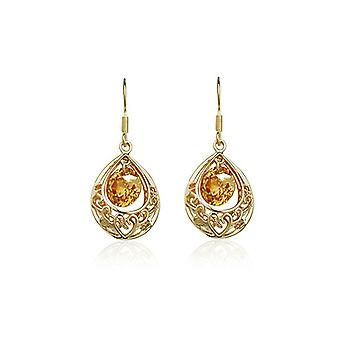 Womens Gold Champagne holle Teardrop Drop Oorbellen presenteren