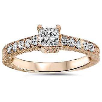 1 / 2ct Vintage Princess Cut Diamond Engagement Ring 14K Rose Gold
