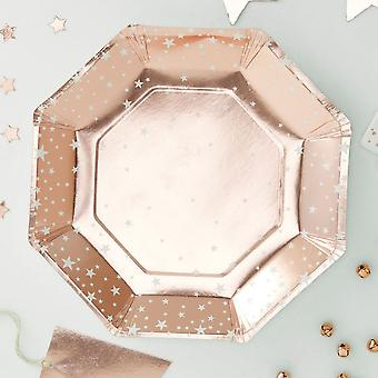 Rose Gold hindret Delgada papir plater Pack 8 Xmas Party bryllup