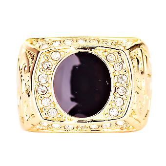 Iskallt ut bling HipHop designer ring - BLACK CENTER guld
