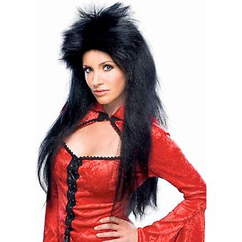 Sorceress Mortisha Witch Gothic Vampiress 80s Rock Black Women Costume Wig