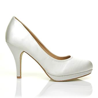 CHIP Off White Satin Leather Pumps Mid-High Heel Low Platform Court Shoes