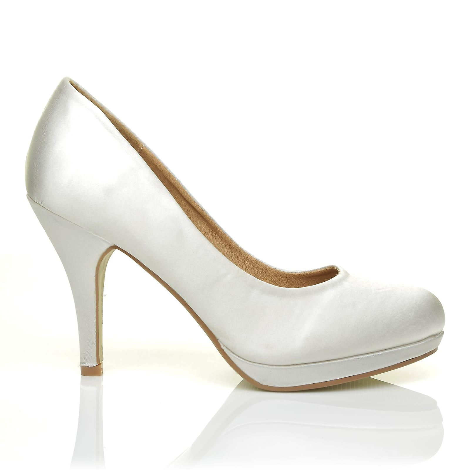 CHIP Off White Satin Leather Pumps Court Mid-High Heel Low Platform Court Pumps Shoes 398136