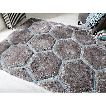 Waben-grau blau Teppich