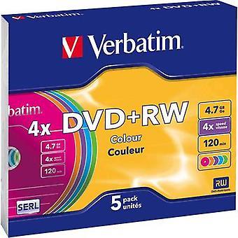 Verbatim 43297 lege DVD + RW 4,7 GB 5 PC (s) slanke behuizing kleur