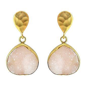 Gemshine - Damen - Ohrringe - 925 Sterling Silber - Vergoldet - DRUZY - Quarz - Rosa - 3 cm