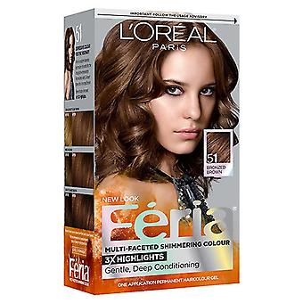 L'Oreal Paris Feria Permanent hårfarve, Bronzed Brown 51, 1 sæt