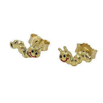 Earstuds worm dull-shiny 9k gold