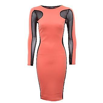Ladies Plain Contrast Mesh Insert Dress Plain bantning effekt Womens Dress
