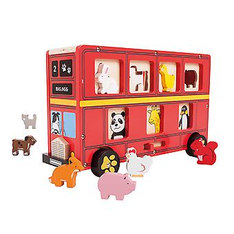 Bigjigs Educational Wooden Red Bus Shape Sorting Sorter Toy Play Set