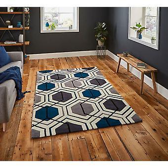 HK 7526 grå marinblå rektangel mattor moderna mattor