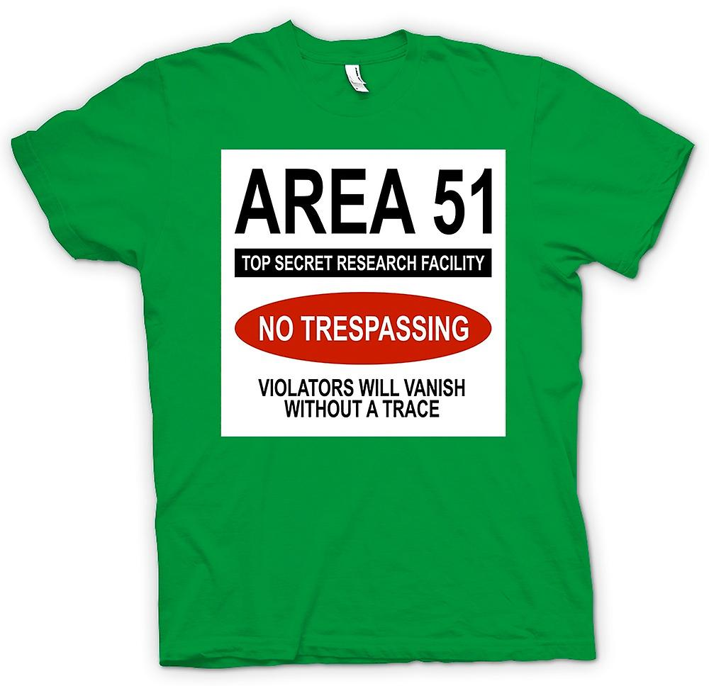 Mens T-shirt - Area 51 - UFO - Trespasser Will Vanish