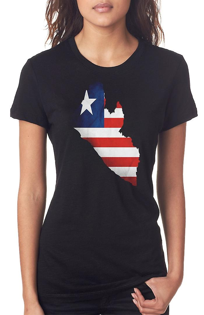 Liberia Liberian Flag Map Ladies T Shirt