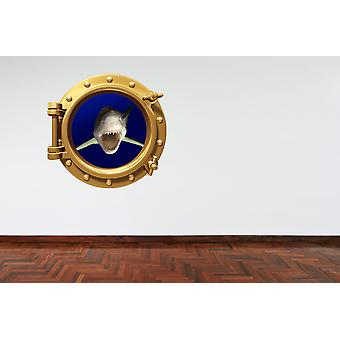 Full Colour Brass Porthole Great White Shark Wall Sticker