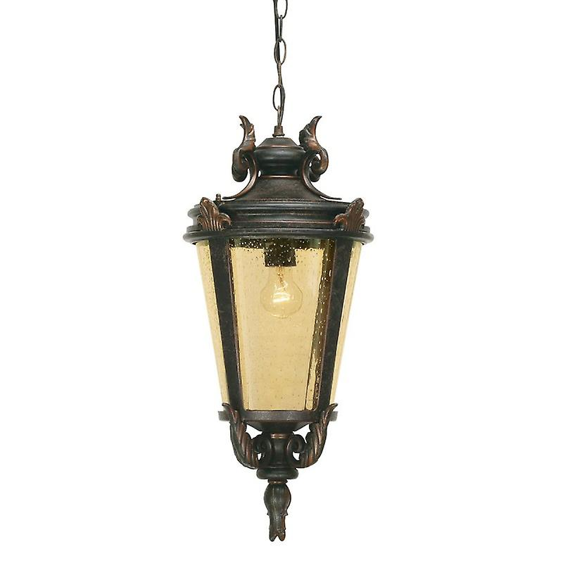 1 Light Large Outdoor Ceiling Chain Lantern Weatherouge Bronze