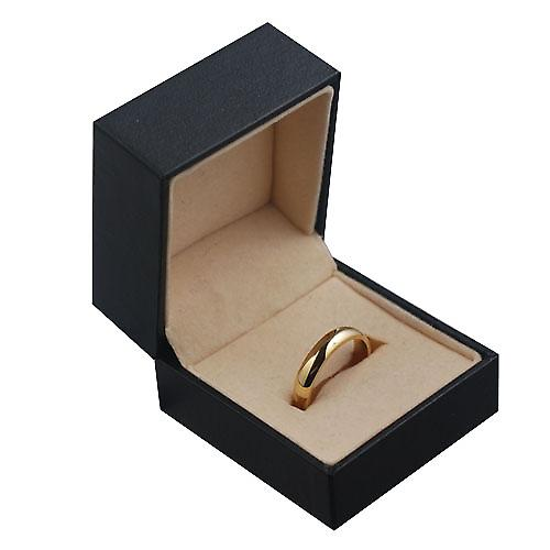 9ct Gold plain D shaped Wedding Ring 4mm wide in Size P