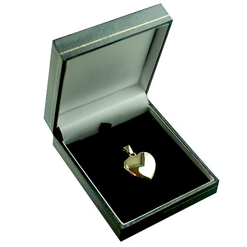 Médaillon en forme de coeur 9ct or 21x19mm de main plaine