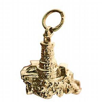 9ct Gold 15x16mm solid Lighthouse and Rock Pendant or Charm