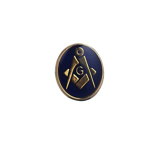 Hard Gold Plated 12x10mm oval cold cure enamel Masonic with 'G' Tie tack