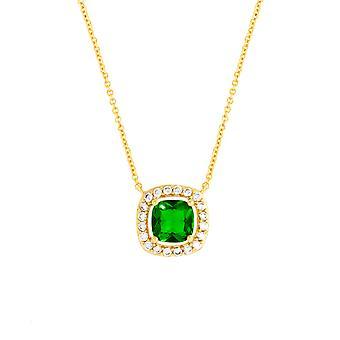 Bertha Juliet Collection Women's 18K YG Plated Green Cushion Halo Fashion Necklace