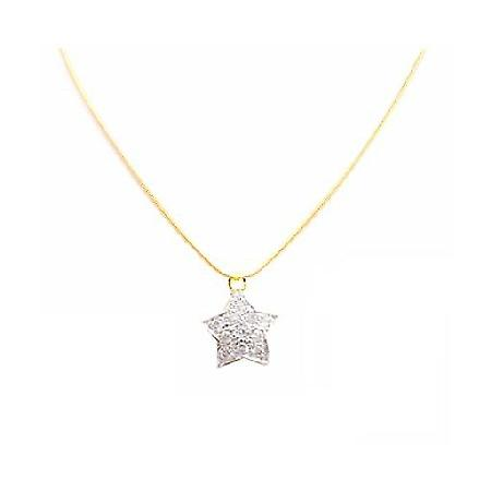 Gold Necklace Christmas Jewelry Star Pendant Fully Embedded Necklace