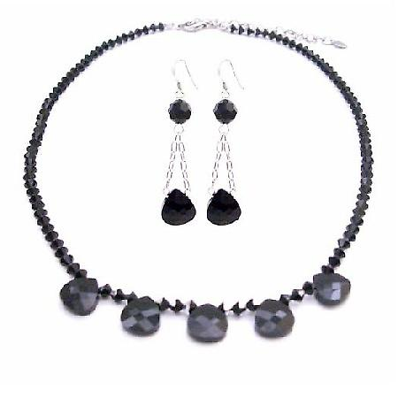 Swarovski Jet Polygon Bead Necklace 2 Shaded Jet Black/Silver Crystals