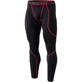 Tesla YUP43 Thermal Winter Gear Baselayer Compression Pants - Black/Red